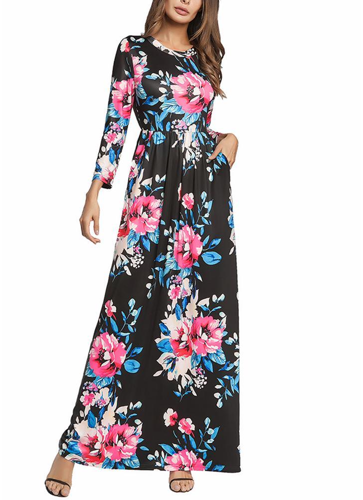Floral manches longues Prom Sundress taille élastique robe longue