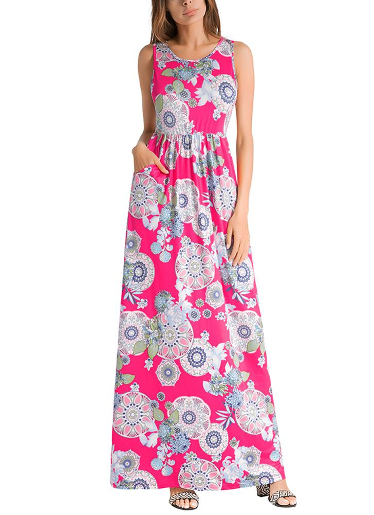 Impressão floral sem mangas cintura elástica boho tanque maxi dress