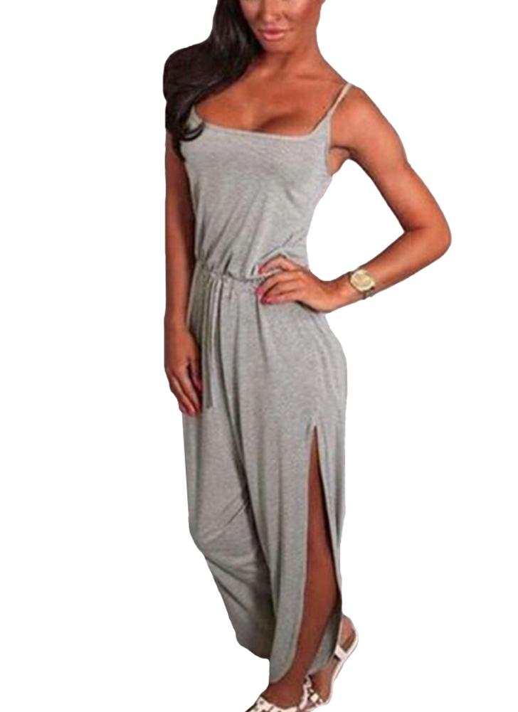 Strappy Drawstring Waist Split Cuff Solid Color Romper