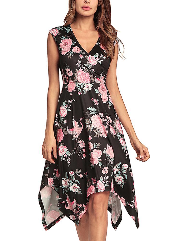 Sem mangas Assimétrica Floral Imprimir V Neck vestido de cintura alta Midi
