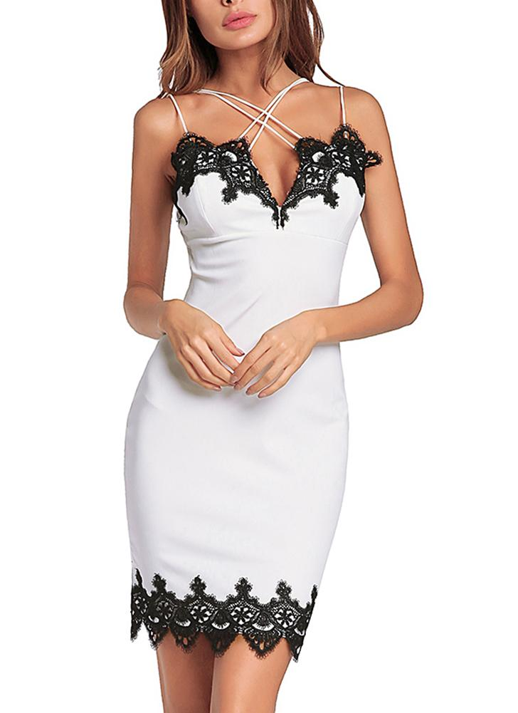 Scalloped Lace Crossed Spaghetti Straps Sheath Mini Dress