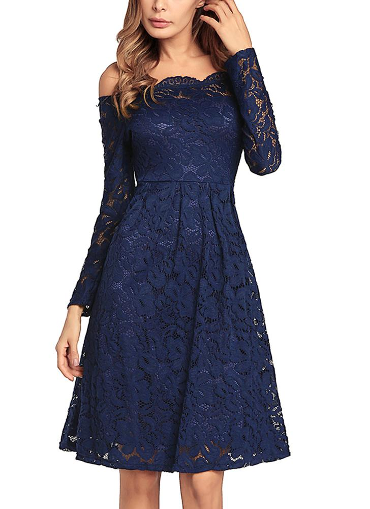 Vintage Lace Off the Shoulder Long Sleeve A Line Pleated Dress