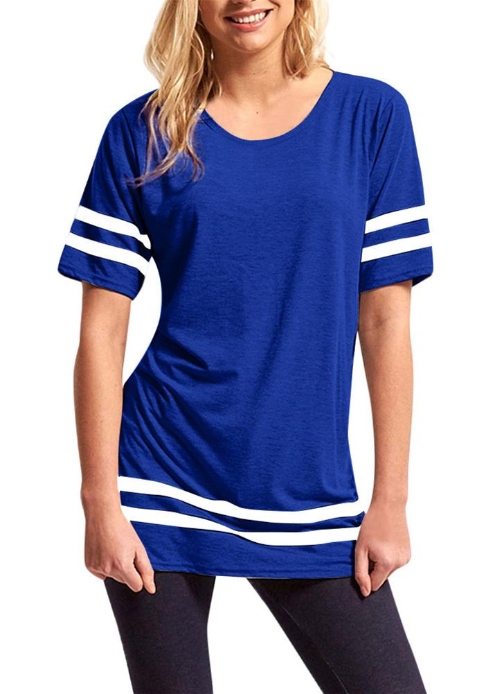 Cotton Striped T-Shirt Short Sleeve Casual Loose Tee