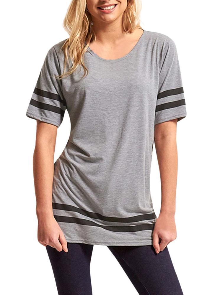 Algodão listrado t-shirt manga curta Casual solta Tee
