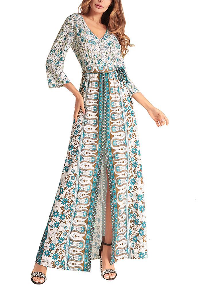 Women Maxi Long Dress Geometric Print Split  High Waist Belt Boho Elegant Dresses