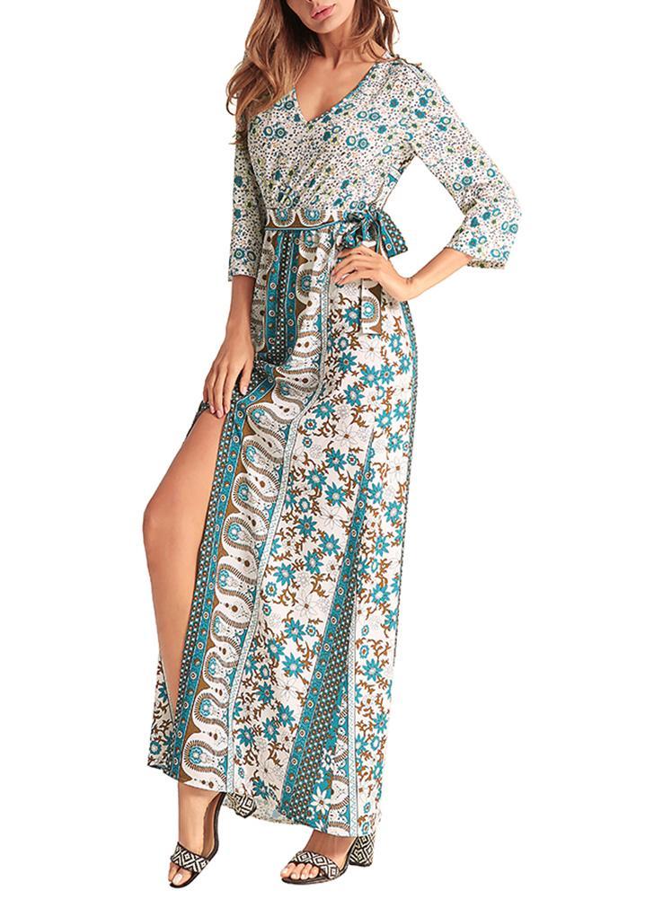Женщины Макси Длинные платья Геометрические печати Сплит высокой талии пояса Boho Элегантные платья