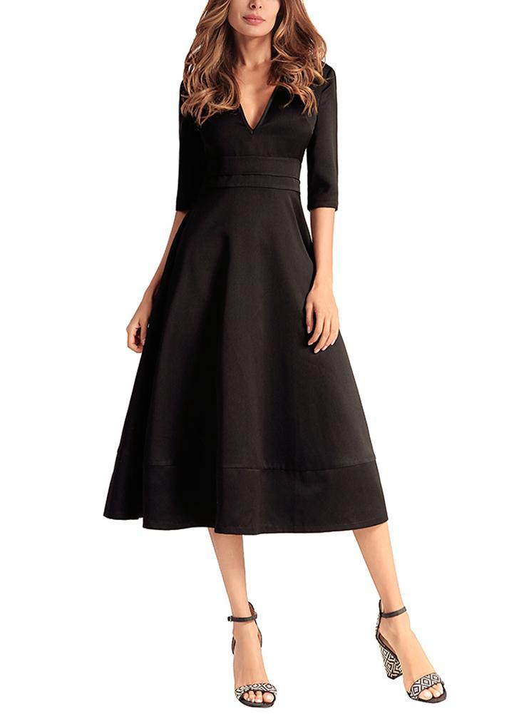 schwarz 2xl Frauen langes Abendkleid Kleid Satin V-Ausschnitt ...
