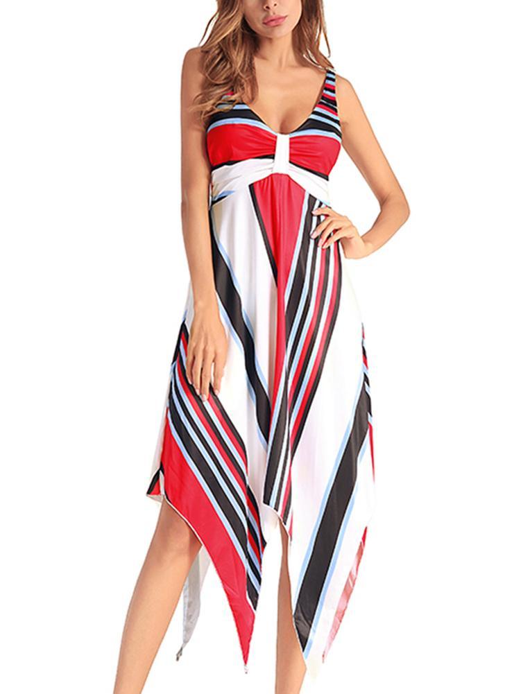 Женское полосатое пляжное платье Нерегулярное подол Midi Summer Party Dress Сарафан