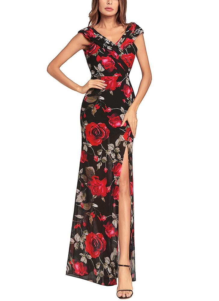 Women Chiffon Maxi Dress Floral Print Split Cross  Ruched Boho Long Dress