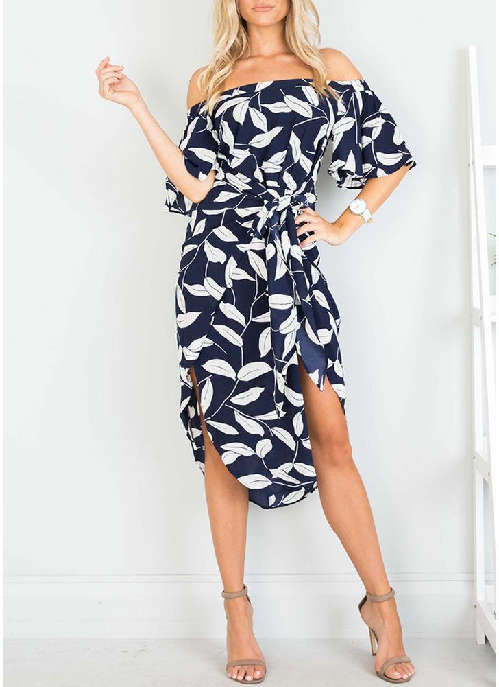 Elegantes Frauen-Blatt-Druck-Kleid-Kurzschluss-Hülsen-hohes Schlitz-