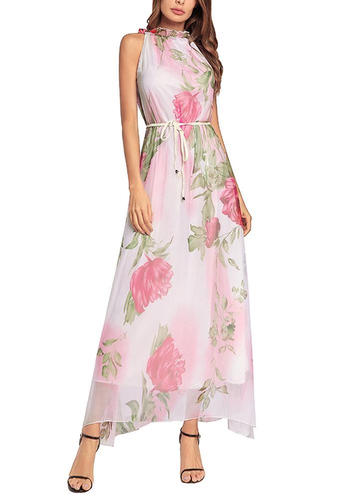 Women Chiffon Maxi Dress Floral Print Sleeveless Belt Sundress Beach Long Dress