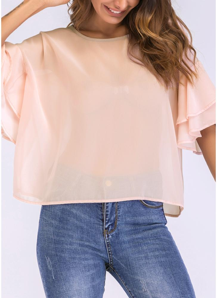 T-shirt da donna casual in camicetta di chiffon a tinta unita con maniche arricciate flare