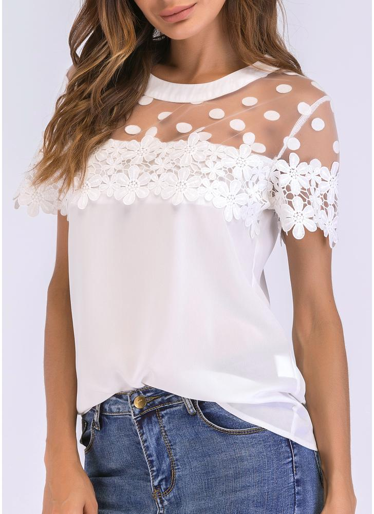 Frauen Chiffon Bluse Sheer Mesh Floral Crochet Spitze Polka Dot Solid Tops