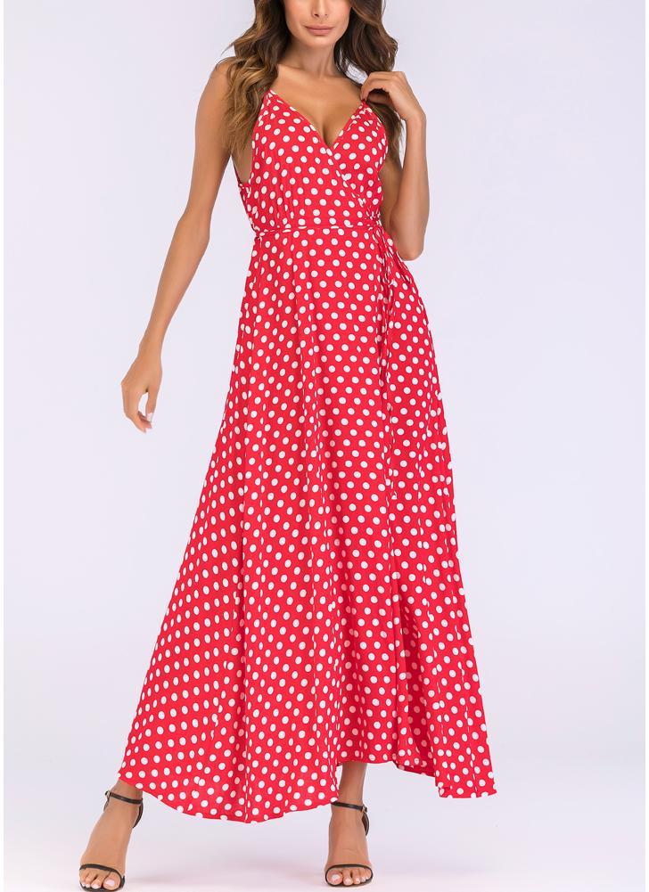 Женщины Dot Print Maxi Платье с длинными рукавами из спагетти с длинными рукавами