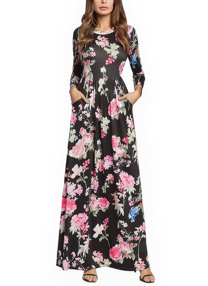 060d01e337 black l Women Bohemian Maxi Dress Floral Print Sundress Beach Ruffle Long  Dress - Chicuu