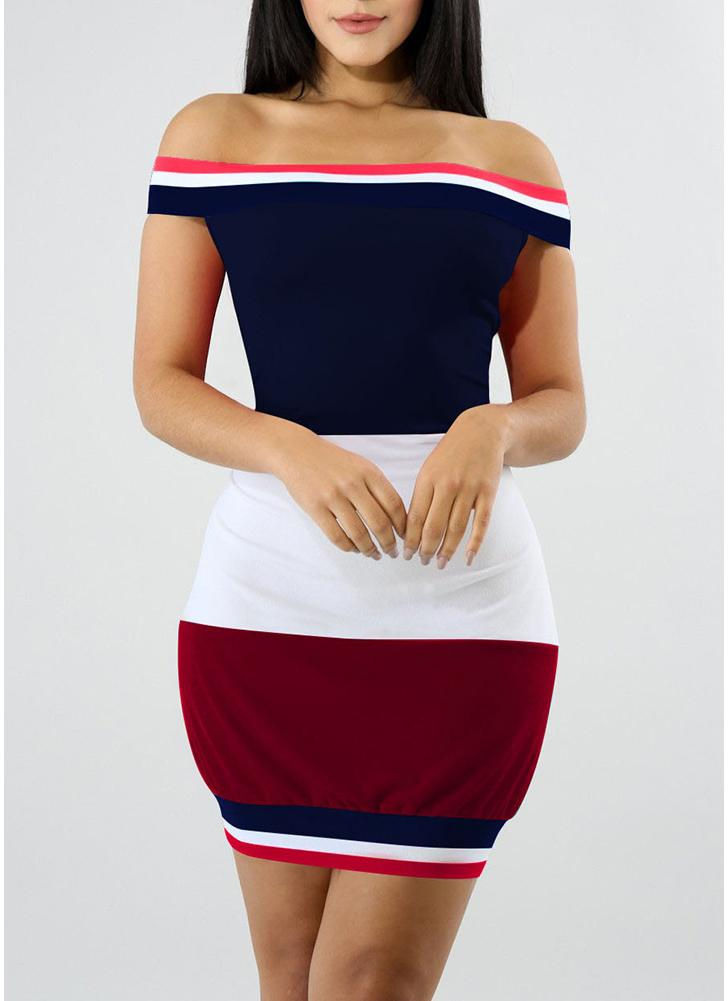 Off the Shoulder Color Splice Bodycon Mini Dress