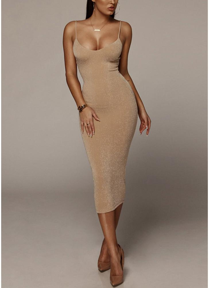 Glitter Spaghetti Strap O Neck Sleeveless Bandage Midi Dress