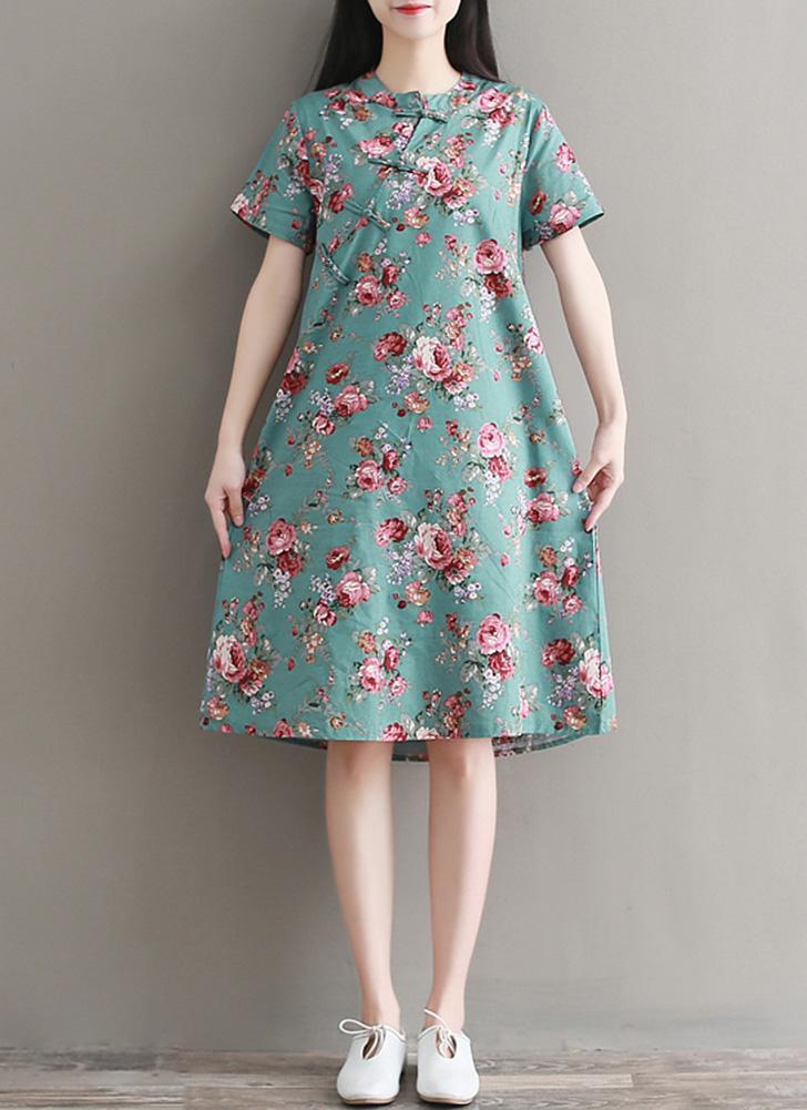 As mulheres se vestem de impressão floral em torno do pescoço manga curta Cheongsle fivela de algodão praia Casual vestido