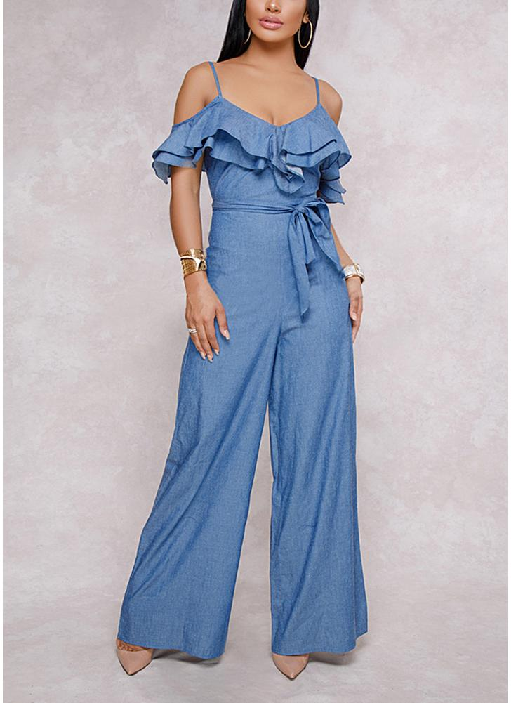 Mujeres Ruffles Cold Shoulder Jumpsuit Sashes Zipper Pantalones de pierna ancha Ligueros Rompers