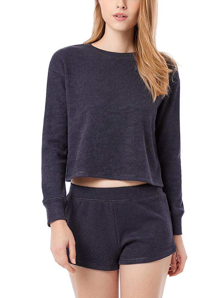Femmes tricotant pyjama de coton définit décontracté Solid Tee et Shorts Loose Sleepwear