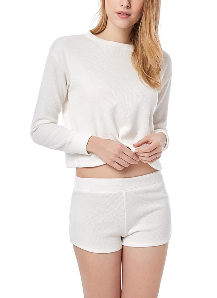 Women Knitting Cotton Pajama Sets  Casual Solid Tee and Shorts Loose Sleepwear