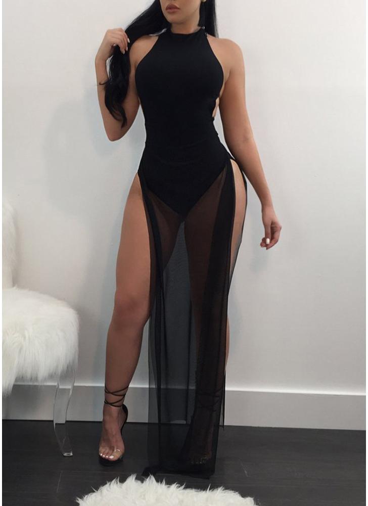 Женщины видят через сетку Maxi Dress Side High Slit Clubwear Комбинезон для вечеринок