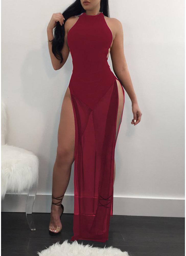 Femmes voir à travers la maille Maxi robe Side Slit High Clubwear Party Combinaison