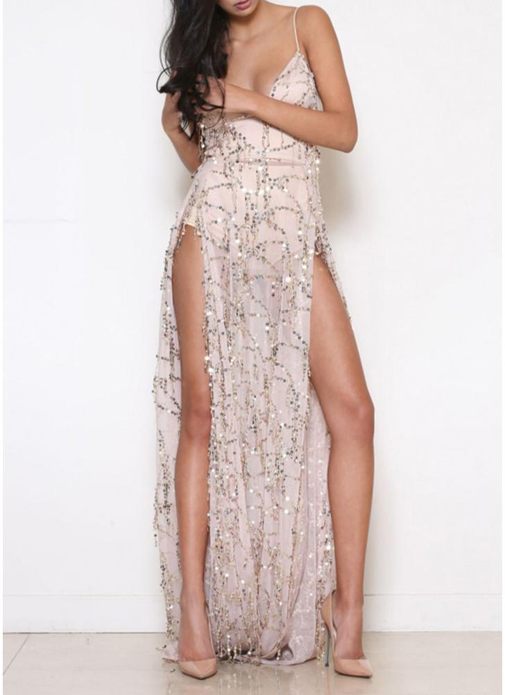 Women Sequin Long Maxi Dress Sheer Mesh Nightclub Party See Through  Dress