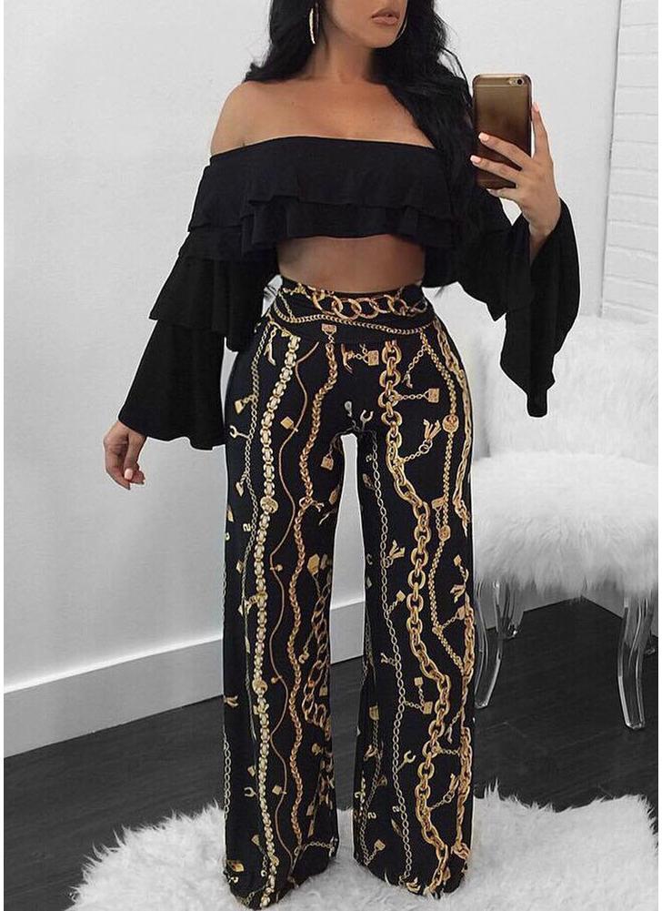 Women Gold Chain Print Wide Leg Palazzo Pants  Party Club Capri Trousers