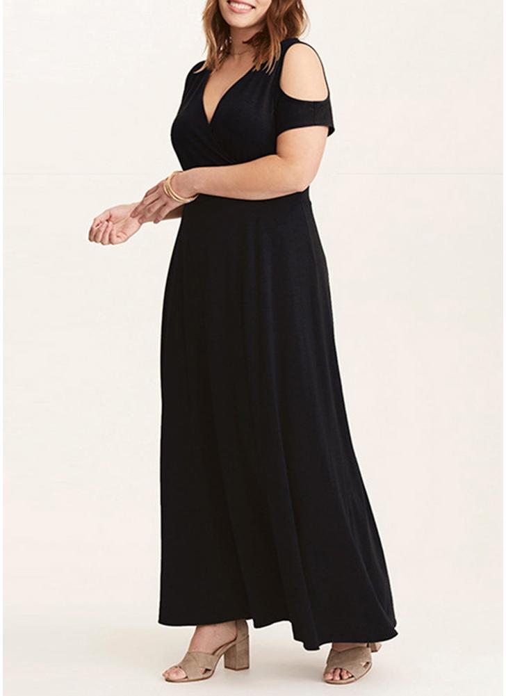 Women Plus Size Maxi Dress Cold Shoulder  Solid Evening Party Long Dress