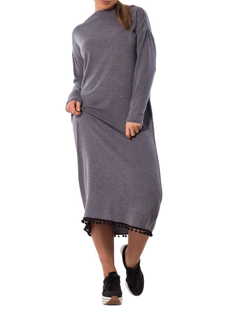 Женщины Плюс Размер Maxi Платье O-образным вырезом с длинным рукавом Tassel Solid Slim Long Dress