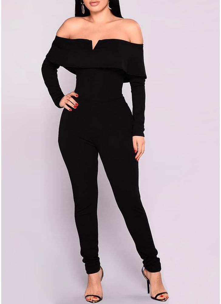 Femmes hors de l'épaule Jumpsuit Ruffle manches longues Zip Romper Body Suits