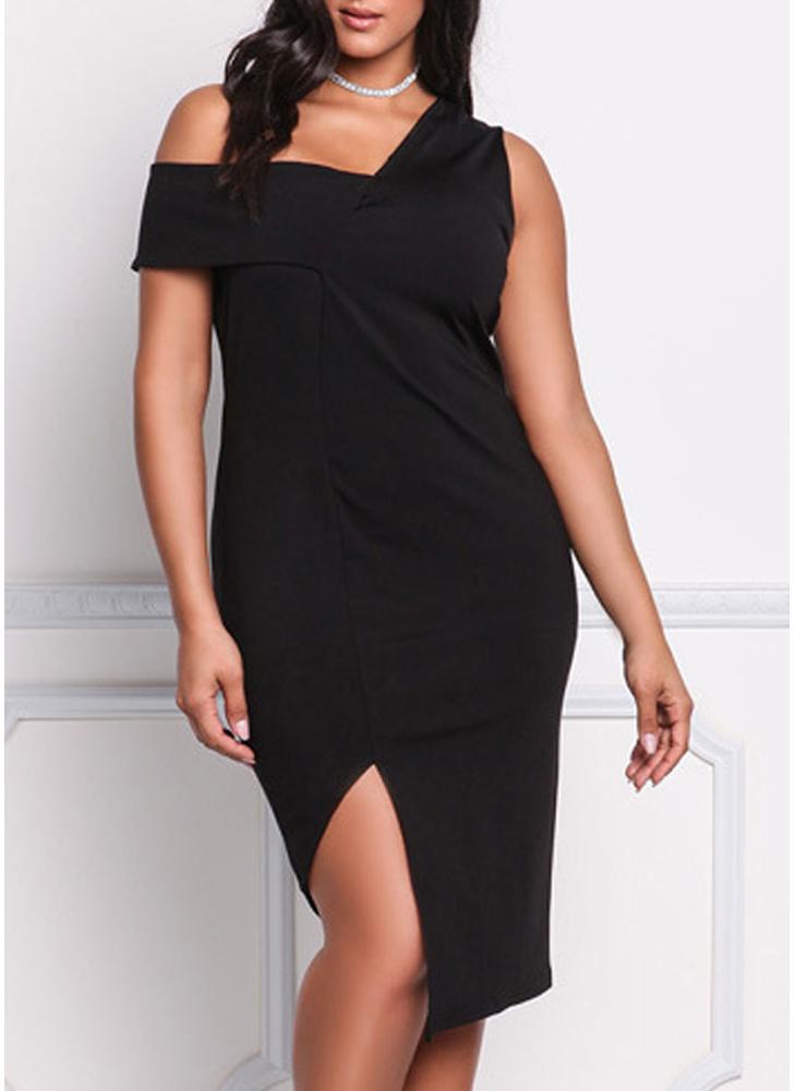 Black 2xl Women Plus Size Dress One Shoulder Split Irregular Hem