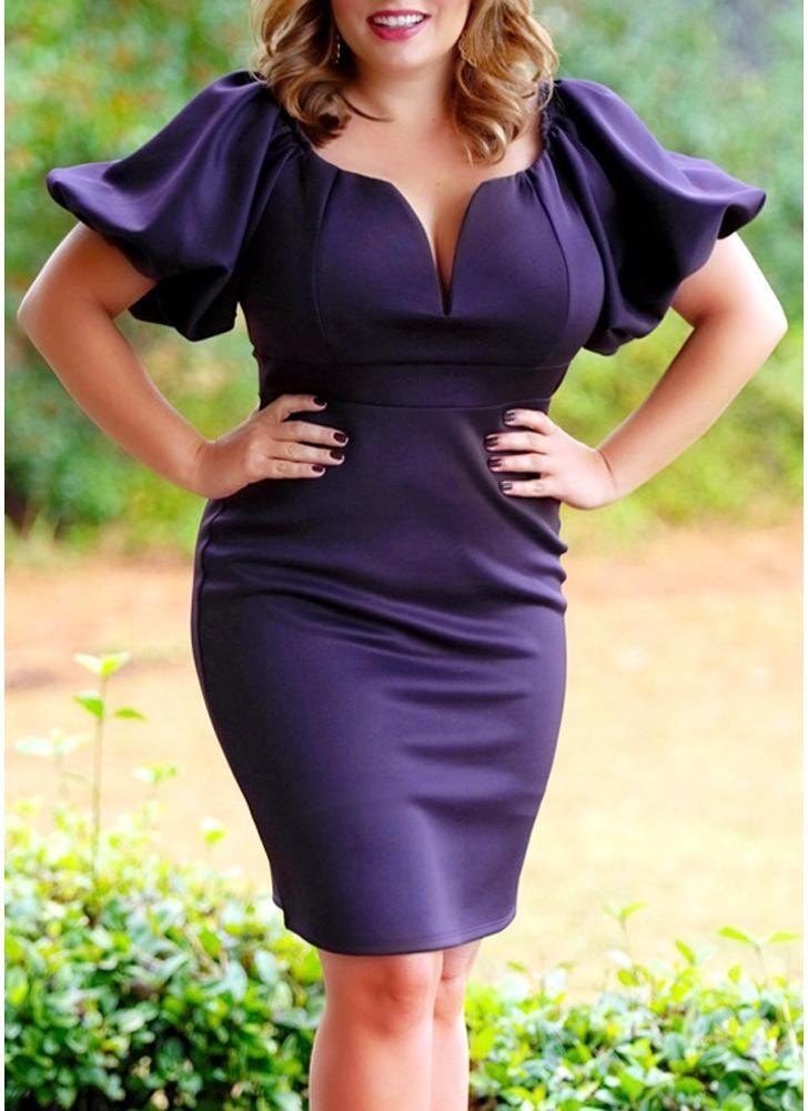 2xl púrpura Vestido de fiesta de noche de la cintura alta del color ...