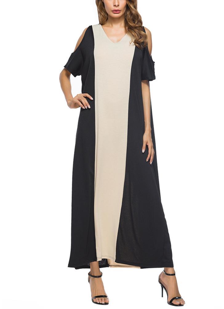 Maxi vestito con scollo a V manica corta fuori misura 438dd3bff95