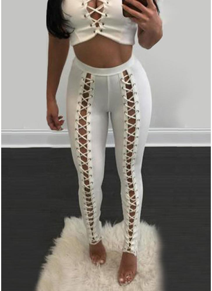 Lace-Up Bandage High Waist Skinny Pants Tights Slim Bodycon Pencil Leggings
