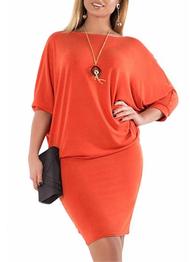 Plus Size Solid O Neck Batwing Sleeve Mini Dress