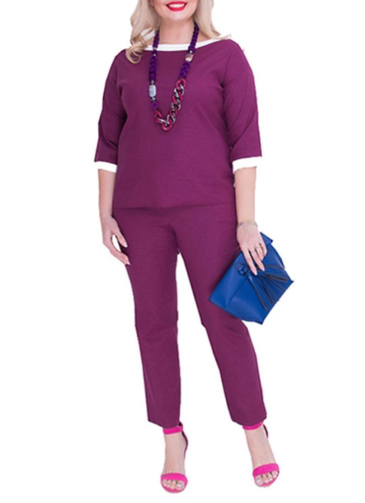 Plus Size O Collo Mezza manica Outfit Tute casual