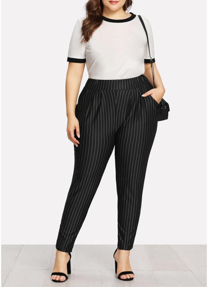 Pantaloni OL tascabili a vita alta con stampa a strisce