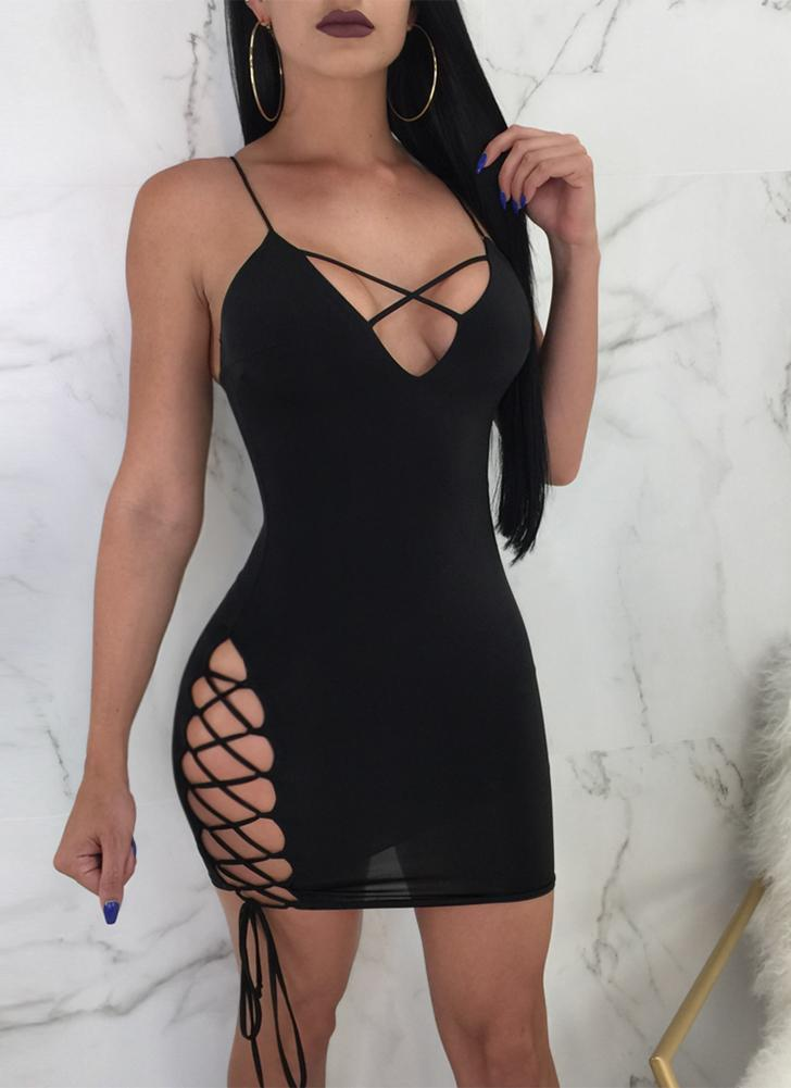 Plunge V Cross Over Lace Up Bandage Spaghetti Strap manches Mini robe dos nu