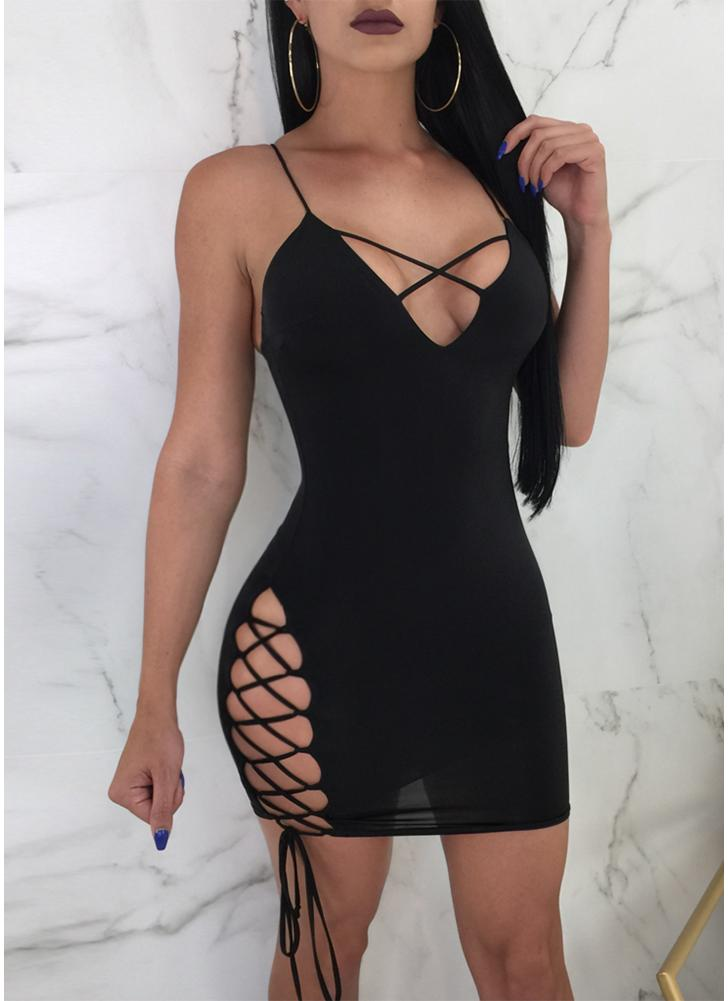 Plunge V Cross Over Lace Up Bandage Spaghetti Strap Sleeveless Backless Mini Dress