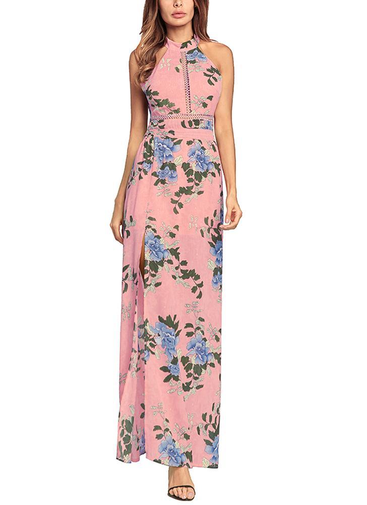 2xl rosado Vestido elegante de gasa con estampado floral sin espalda ...