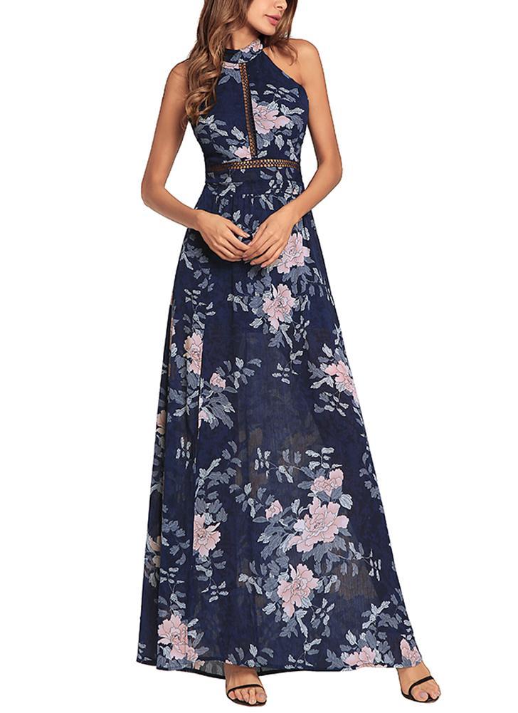 Vestido elegante de gasa con estampado floral sin espalda, cintura alta sin espalda