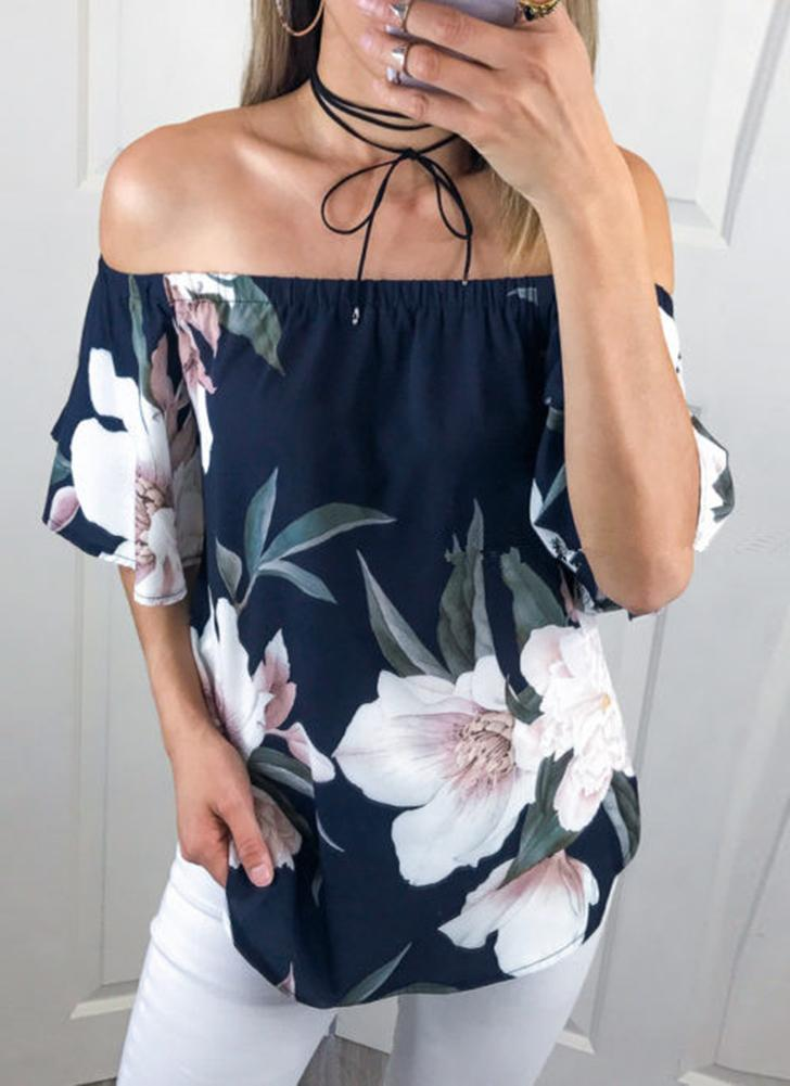 Off-the-Shoulder Slash Neck Floral Print Ruffled Sleeve Asymmetry Blouse