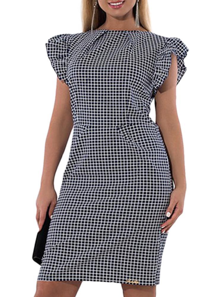 Plus Size Plaid Checked Ruffled Sleeve Dress