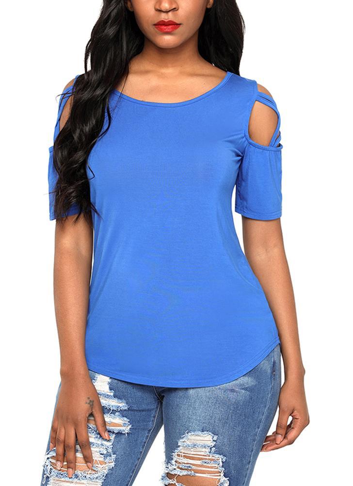Cold Shoulder Short Sleeves ausgeschnitten kreuzweise solide T-Shirts Shirts