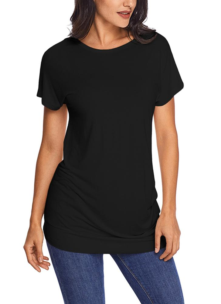 Short Sleeves Side Buttoned O Neck Ruched Side Long Tees