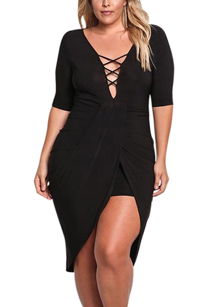 Plus Size Plunge Cross Strap Deep V Neck Half Sleeve Bodycon Dress