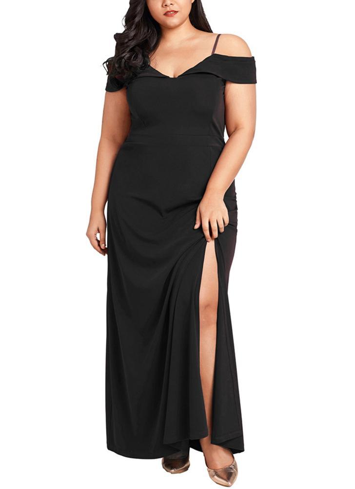 Plus Size Off The Shoulder Slit Dress V Neck Maxi Dress