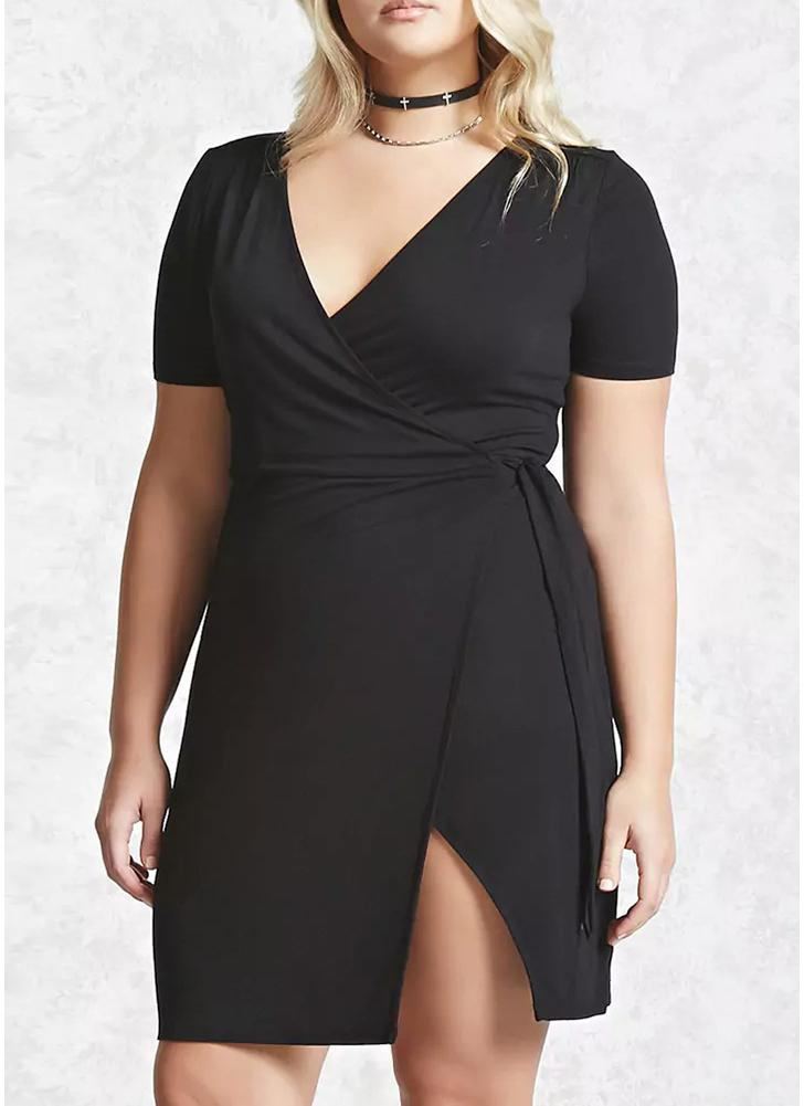 Plus Size Cross Over V Neck Short Sleeve Side Tie Split Mini Dress